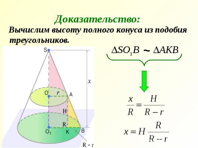 Вычислим высоту полного конуса из подобия треугольников. Вычислим высоту полного конуса из подобия треугольников.