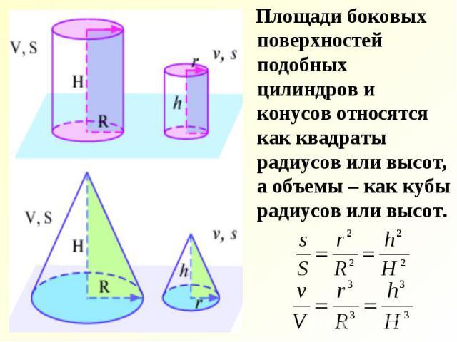 Площади боковых поверхностей подобных цилиндров и конусов относятся как квадраты радиусов или высот, а объемы – как кубы радиусов или высот. Площади боковых поверхностей подобных цилиндров и конусов относятся как квадраты радиусов или высот, а объем…