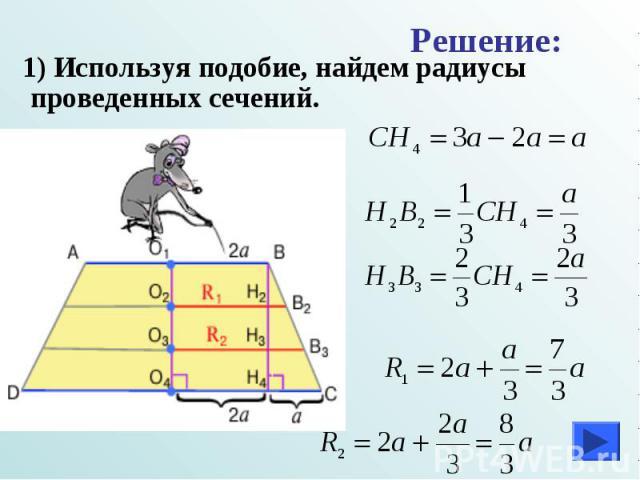 1) Используя подобие, найдем радиусы проведенных сечений. 1) Используя подобие, найдем радиусы проведенных сечений.