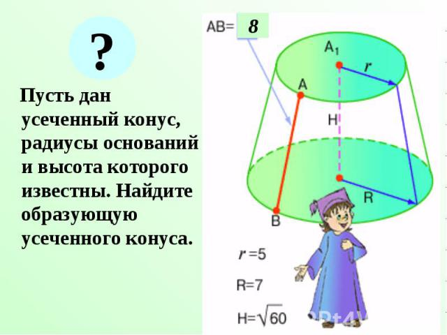 Пусть дан усеченный конус, радиусы оснований и высота которого известны. Найдите образующую усеченного конуса. Пусть дан усеченный конус, радиусы оснований и высота которого известны. Найдите образующую усеченного конуса.
