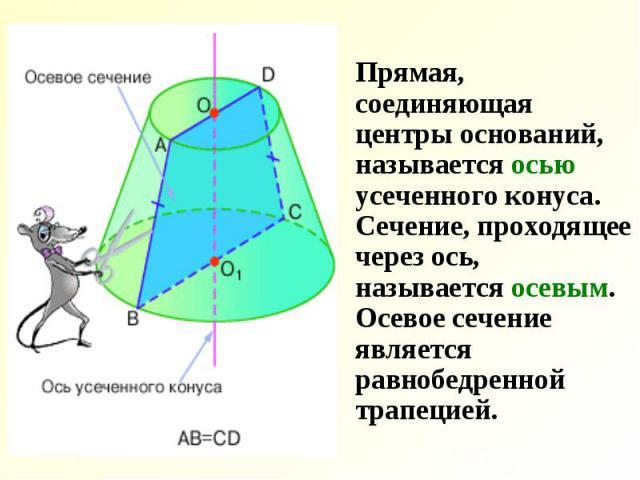 Прямая, соединяющая центры оснований, называется осью усеченного конуса. Сечение, проходящее через ось, называется осевым. Осевое сечение является равнобедренной трапецией. Прямая, соединяющая центры оснований, называется осью усеченного конуса. Сеч…