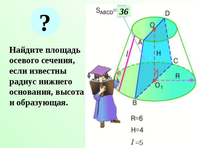 Найдите площадь осевого сечения, если известны радиус нижнего основания, высота и образующая. Найдите площадь осевого сечения, если известны радиус нижнего основания, высота и образующая.