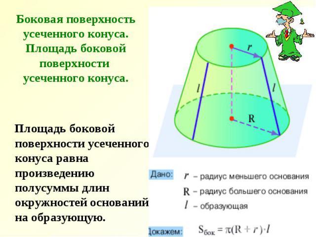 Боковая поверхность усеченного конуса. Площадь боковой поверхности усеченного конуса. Площадь боковой поверхности усеченного конуса равна произведению полусуммы длин окружностей оснований на образующую.