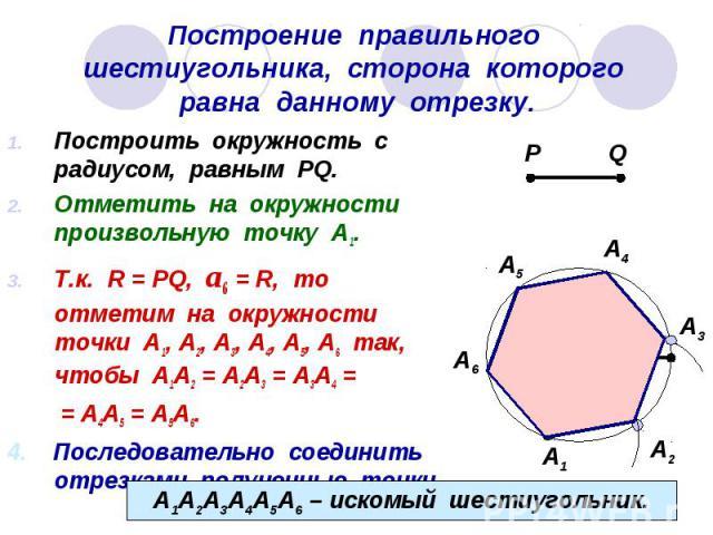 Построение правильного шестиугольника, сторона которого равна данному отрезку. Построить окружность с радиусом, равным PQ. Отметить на окружности произвольную точку А1. Т.к. R = PQ, а6 = R, то отметим на окружности точки А1, А2, А3, А4, А5, А6 так, …