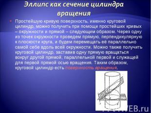 Простейшую кривую поверхность, именно круговой цилиндр, можно получить при помощ