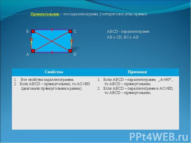 Прямоугольник – это параллелограмм, у которого все углы прямые. Прямоугольник – это параллелограмм, у которого все углы прямые. В С АВСD - параллелограмм АВ СD, ВС АD А D