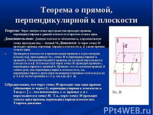 Теорема: Через любую точку пространства проходит прямая, перпендикулярная к данн