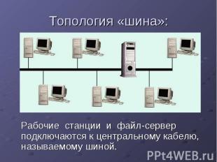 Топология «шина»: Рабочие станции и файл-сервер подключаются к центральному кабе