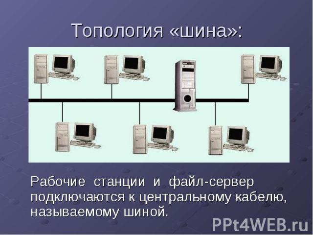 Топология «шина»: Рабочие станции и файл-сервер подключаются к центральному кабелю, называемому шиной.