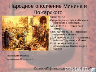 Народное ополчение Минина и Пожарского Персоналия Минина Персоналия Пожарского