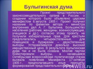 Проект представительного законосовещательного органа в России, о создании которо