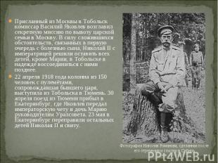 Присланный из Москвы в Тобольск комиссар Василий Яковлев возглавил секретную мис