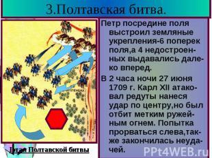 3.Полтавская битва. Гарнизон крепости 1,5 месяца сдерживал ата ки шведов.20 июня