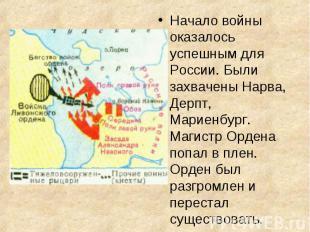 Начало войны оказалось успешным для России. Были захвачены Нарва, Дерпт, Мариенб