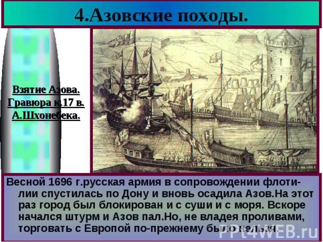 4.Азовские походы. Весной 1696 г.русская армия в сопровождении флоти-лии спустилась по Дону и вновь осадила Азов.На этот раз город был блокирован и с суши и с моря. Вскоре начался штурм и Азов пал.Но, не владея проливами, торговать с Европой по-преж…