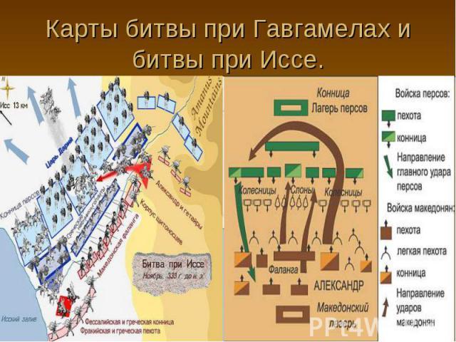 Карты битвы при Гавгамелах и битвы при Иссе.