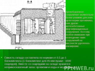 Емкость склада составляла по нормам от 0,5 до 1 боекомплекта (1 боекомплект для