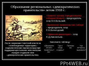 Образование региональных «демократических правительств» летом 1918 г.