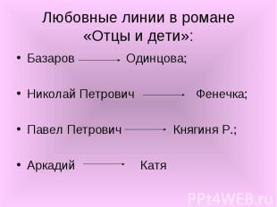 Базаров Одинцова; Базаров Одинцова; Николай Петрович Фенечка; Павел Петрович Кня
