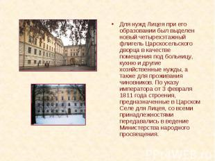 Для нужд Лицея при его образовании был выделен новый четырехэтажный флигель Царс