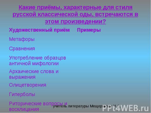 Какие приёмы, характерные для стиля русской классической оды, встречаются в этом произведении?
