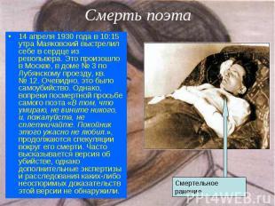 14 апреля 1930 года в 10:15 утра Маяковский выстрелил себе в сердце из револьвер