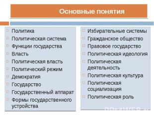 Политика Политика Политическая система Функции государства Власть Политическая в