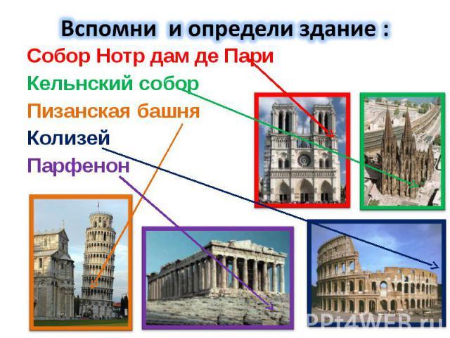 Собор Нотр дам де Пари Собор Нотр дам де Пари Кельнский собор Пизанская башня Колизей Парфенон