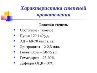 Характеристика степеней кровотечения Тяжелая степень Состояние - тяжелое Пульс 1