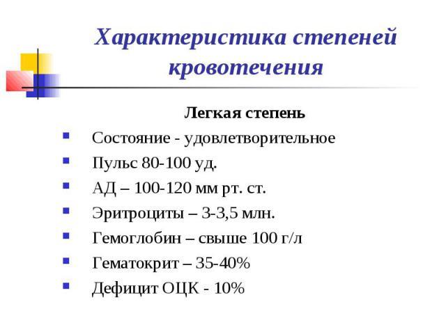 Характеристика степеней кровотечения Легкая степень Состояние - удовлетворительное Пульс 80-100 уд. АД – 100-120 мм рт. ст. Эритроциты – 3-3,5 млн. Гемоглобин – свыше 100 г/л Гематокрит – 35-40% Дефицит ОЦК - 10%