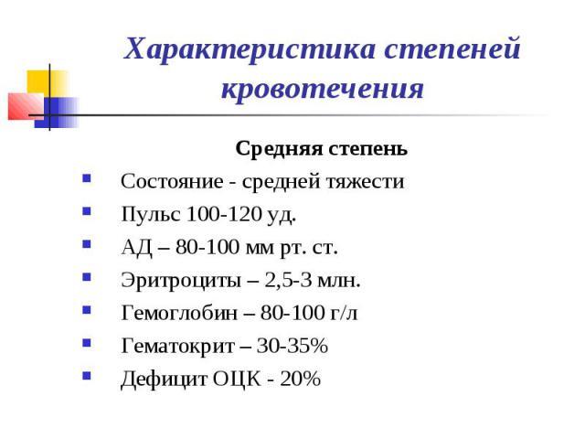 Характеристика степеней кровотечения Средняя степень Состояние - средней тяжести Пульс 100-120 уд. АД – 80-100 мм рт. ст. Эритроциты – 2,5-3 млн. Гемоглобин – 80-100 г/л Гематокрит – 30-35% Дефицит ОЦК - 20%