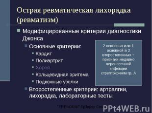 Острая ревматическая лихорадка (ревматизм) Модифицированные критерии диагностики