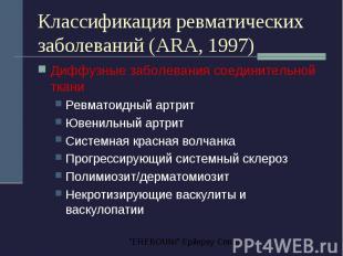 Классификация ревматических заболеваний (ARA, 1997) Диффузные заболевания соедин