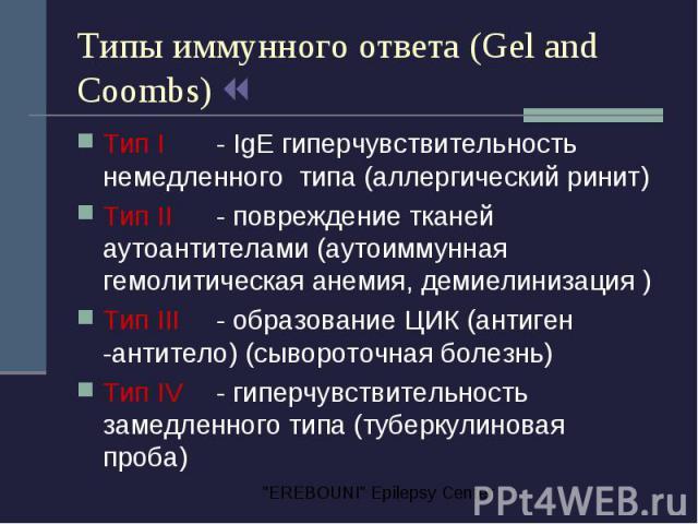 Типы иммунного ответа (Gel and Coombs) Тип I - IgE гиперчувствительность немедленного типа (аллергический ринит) Тип II - повреждение тканей аутоантителами (аутоиммунная гемолитическая анемия, демиелинизация ) Тип III - образование ЦИК (антиген -ант…