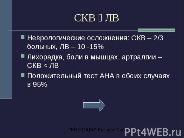 СКВ ЛВ Неврологические осложнения: СКВ – 2/3 больных, ЛВ – 10 -15% Лихорадка, боли в мышцах, артралгии – СКВ < ЛВ Положительный тест АНА в обоих случаях в 95%