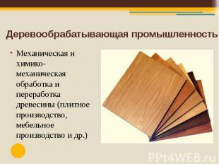 Деревообрабатывающая промышленность Механическая и химико-механическая обработка