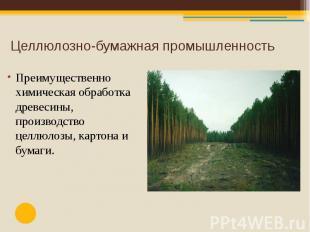 Целлюлозно-бумажная промышленность Преимущественно химическая обработка древесин