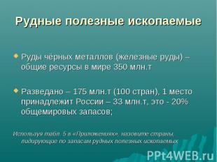 Руды чёрных металлов (железные руды) – общие ресурсы в мире 350 млн.т Разведано