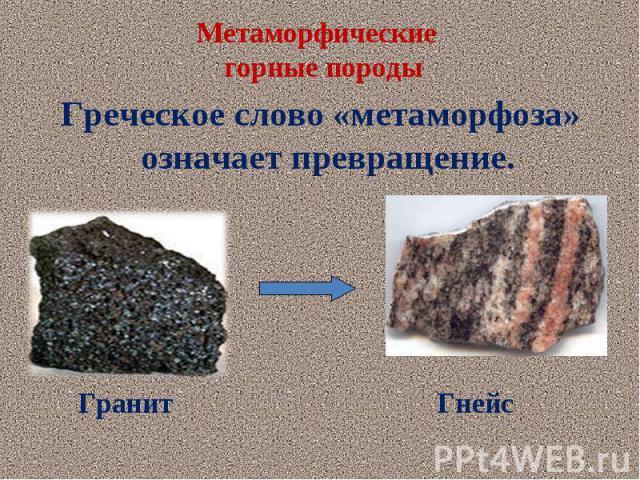 Греческое слово «метаморфоза» означает превращение. Греческое слово «метаморфоза» означает превращение.