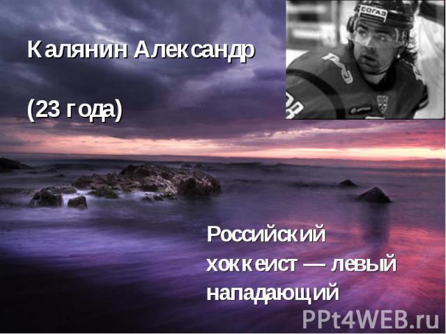 Калянин Александр (23 года) Российский хоккеист— левый нападающий
