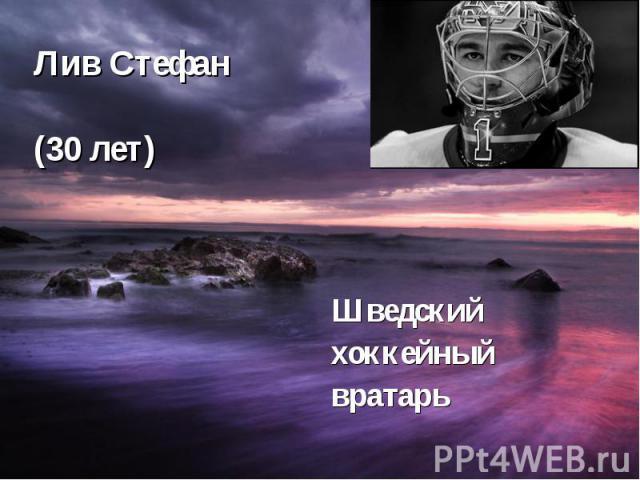 Лив Стефан (30 лет) Шведский хоккейный вратарь
