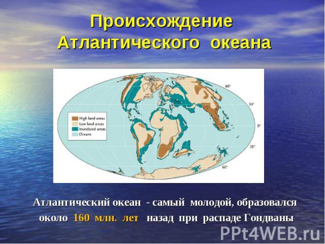 Атлантический океан - самый молодой, образовался Атлантический океан - самый молодой, образовался около 160 млн. лет назад при распаде Гондваны