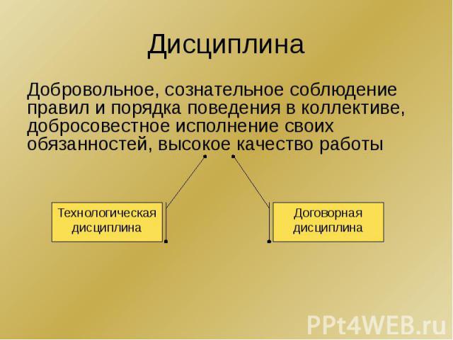 Дисциплина Добровольное, сознательное соблюдение правил и порядка поведения в коллективе, добросовестное исполнение своих обязанностей, высокое качество работы