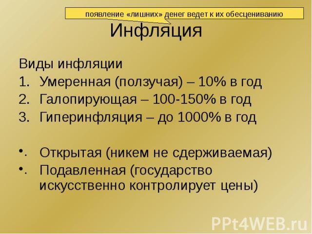 Инфляция Виды инфляции Умеренная (ползучая) – 10% в год Галопирующая – 100-150% в год Гиперинфляция – до 1000% в год Открытая (никем не сдерживаемая) Подавленная (государство искусственно контролирует цены)