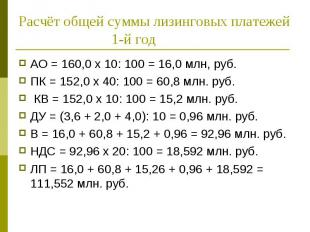 АО = 160,0 х 10: 100 = 16,0 млн, руб. АО = 160,0 х 10: 100 = 16,0 млн, руб. ПК =