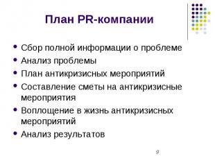 План PR-компании Сбор полной информации о проблеме Анализ проблемы План антикриз