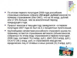 По итогам первого полугодия 2008 года российские страховые компании собрали 293