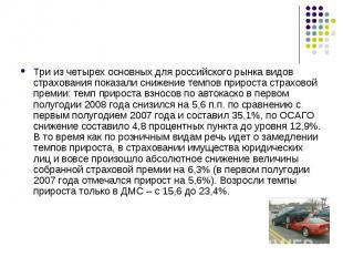 Три из четырех основных для российского рынка видов страхования показали снижени