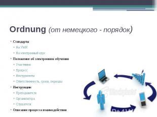 Ordnung (от немецкого - порядок) Стандарты На УМК На электронный курс Положение