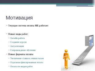 Мотивация Текущая система оплаты НЕ работает Новые виды работ: Онлайн работа Соз